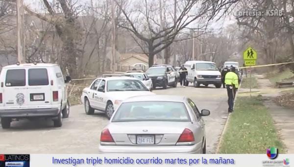 Oficiales de Policía de Kansas investigan un triple homicidio