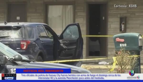 Tres oficiales fueron heridos de bala por un sospechoso de asesinato